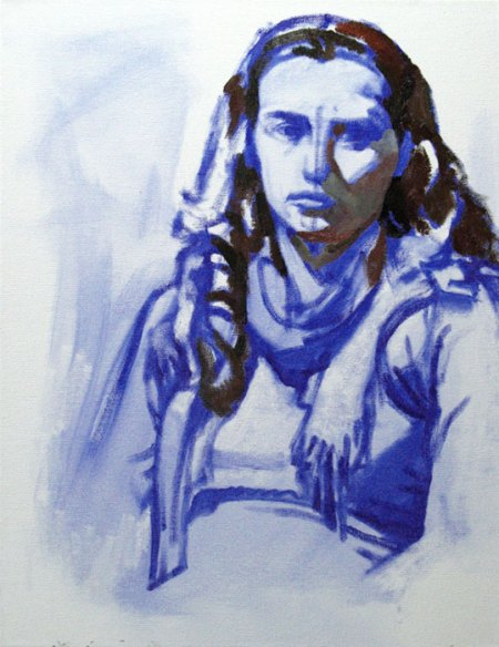 portrait - ultramarine underpainting