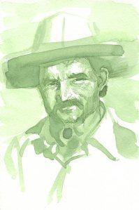 Iris green ink sketch