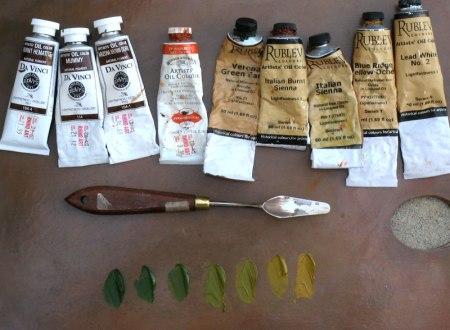 Titian palette, greens